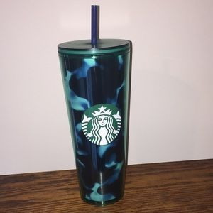 Starbucks 24 oz Cold Cup Teal Green Marble Print